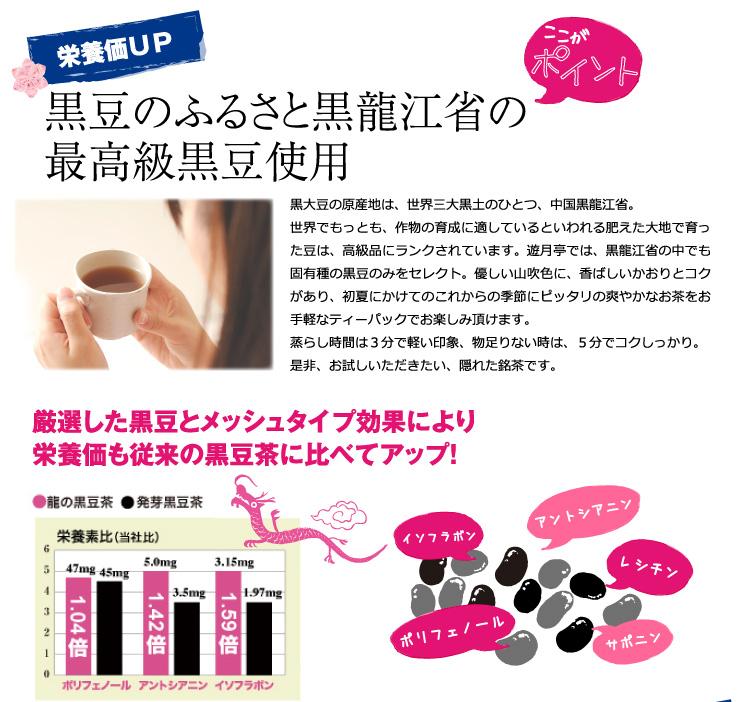 うれしいその2 栄養価が高い 黒豆のふるさと黒龍江省の最高級黒豆を使用で、栄養価も発芽黒豆茶より高いことが実証されています。
